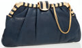 Luxury Accessories:Bags, Judith Leiber Navy Blue Lizard Clutch Bag with Shoulder Strap . ...