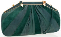Judith Leiber Green Suede & Skin Clutch Bag with Shoulder Strap