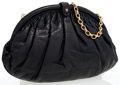 Luxury Accessories:Bags, Chanel Black Lambskin Leather Evening Bag with Black Lizard Trim....