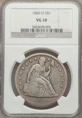 Seated Dollars: , 1860-O $1 VG10 NGC. NGC Census: (1/813). PCGS Population (8/1249).Mintage: 515,000. Numismedia Wsl. Price for problem free...