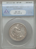 Seated Half Dollars, 1873-CC 50C No Arrows -- Cleaned -- ANACS. XF45 Details....