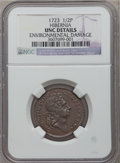 1723 1/2P Hibernia Halfpenny Brown -- Environmental Damage -- NGC Details. Unc. NGC Census: (0/53). PCGS Population (2/1...