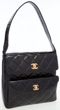 Luxury Accessories:Bags, Chanel Black Quilted Patent Leather Double Pocket Day Bag. ...