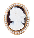 Estate Jewelry:Cameos, Sardonyx, Cultured Pearl, Gold Brooch. ...