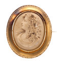 Estate Jewelry:Cameos, Victorian Lava Cameo, Gold Brooch. ...