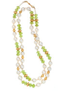 Estate Jewelry:Necklaces, Peridot, Cultured Pearl, Gold Necklace. ...