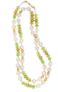 Peridot, Cultured Pearl, Gold Necklace