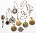 Timepieces:Other , A Lot Of Seven Pocket Watches & Two Wristwatches. ... (Total: 9 Items)