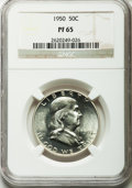 Proof Franklin Half Dollars: , 1950 50C PR65 NGC. NGC Census: (708/695). PCGS Population(1199/484). Mintage: 51,386. Numismedia Wsl. Price for problemfr...