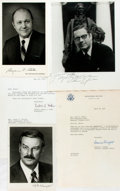 Autographs:Statesmen, Group of Four Autographs of United States Cabinet Members. Ca.1977. Signatures include: Frances Knight, Benjamin Bailar and...