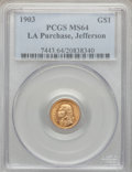 Commemorative Gold: , 1903 G$1 Louisiana Purchase/Jefferson MS64 PCGS. PCGS Population(928/1326). NGC Census: (590/952). Mintage: 17,500. Numism...