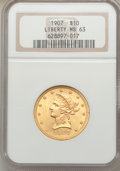Liberty Eagles: , 1907-D $10 MS63 NGC. NGC Census: (68/51). PCGS Population (122/50).Mintage: 1,030,000. Numismedia Wsl. Price for problem f...