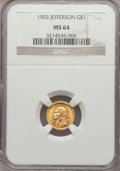 Commemorative Gold: , 1903 G$1 Louisiana Purchase/Jefferson MS64 NGC. NGC Census:(590/952). PCGS Population (928/1326). Mintage: 17,500. Numisme...