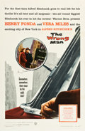 """Movie Posters:Hitchcock, The Wrong Man (Warner Brothers, 1957). Autographed One Sheet (27"""" X41"""").. ..."""