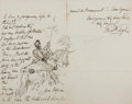 Autographs:Artists, (John) Frederick Tayler (1802-1889, British artist) Autograph Letter Signed with Original Ink Drawing. December 23, 1871. St...