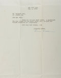 Autographs:Authors, Lula Vollmer (1895-1955, Playwright). Typed Letter Signed. September 1, 1933. Measures 8.5 x 11 inches. Three horizontal an...