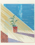 Prints:Contemporary, DAVID HOCKNEY (British, b. 1937). Sun (from theWeather series), 1973. Lithograph and screenprint in colors.30-...