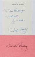 Autographs:Authors, Arthur Hailey (1920-2004, British/Canadian novelist). AutographNote Signed. [19]85. Measures 4 x 6 inches. Fine. Also inclu...