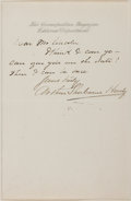 Autographs:Authors, Arthur Sherburne Hardy (1847-1930, American author). AutographLetter Signed. N.d. Tipped onto backing. Measures 7.25 x 9.25...