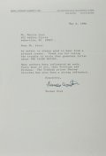 Autographs:Authors, Herman Wouk (b. 1915, Pulitzer Prize-winning American author). Typed Letter Signed. May 6, 1996. Measures 6.75 x 10 inches. ...