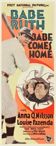 """Movie Posters:Sports, Babe Comes Home (First National, 1927). Insert (14"""" X 36"""").. ..."""
