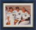 Baseball Collectibles:Photos, Mantle, Martin and DiMaggio Multi Signed Oversized Photograph....