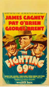 "The Fighting 69th (Warner Brothers, 1940). Midget Window Card (8"" X 14"")"