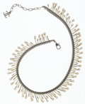 Luxury Accessories:Accessories, Chanel Silver Braided Chain & Glass Pearl Choker Necklace. ...