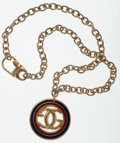 Luxury Accessories:Accessories, Gucci Gold Necklace with Red & Navy Enamel GG Pendant. ...