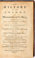 Books:Americana & American History, Thomas Hutchinson. History of the Colony of Massachuset'sBay. London: M. Richardson, 1765. Second edition. Octavo. ...