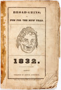 Books:Americana & American History, [Almanac]. Broad Grins; or Fun For the New Year. Boston: Publishedby Arthur Ainsworth, 1832. Octavo. Engravings throughout....