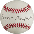Autographs:Baseballs, Roger Angell Single Signed Baseball And Index Card, Envelope....