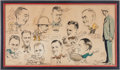 Football Collectibles:Others, 1930's College Coaching Legends Multi Signed Caricature Original Artwork....