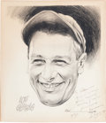 Autographs:Others, 1935 Lou Gehrig Signed Original Artwork. ...