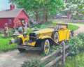 Mainstream Illustration, HARRY ANDERSON (American, 1906-1996). Barn Antiques, 1930Ruxton, Great Moments in Early American Motoring. Gouache and...