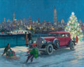 Works on Paper, HARRY ANDERSON (American, 1906-1996). New York Skyline, 1931 Pierce-Arrow, Great Moments in Early American Motoring. Gou...