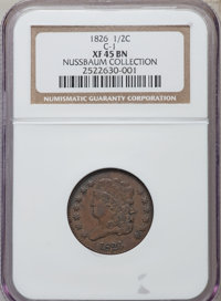 1826 1/2 C XF45 NGC. C-1. Ex: Nussbaum Collection. NGC Census: (22/228). PCGS Population (36/189). Mintage: 234,000. Num...