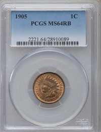 1905 1C MS64 Red and Brown PCGS. PCGS Population (504/65). NGC Census: (296/156). Mintage: 80,719,160. Numismedia Wsl. P...