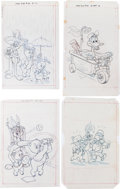 Original Comic Art:Miscellaneous, Del Connell (attributed) Looney Tunes and Related CoverPreliminary Original Art Group (Gold Key, 1970s-80s).... (Total: 9Items)