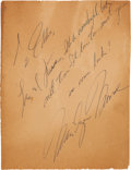 Movie/TV Memorabilia:Autographs and Signed Items, A Marilyn Monroe Inscription, Circa 1950s....
