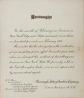 Books:Americana & American History, [Americana] Burroughs Adding Machine Company Form Letter Addressingthe Change of Business Policy in New York State, 1905. O...