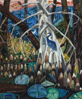 Post-War & Contemporary:Contemporary, DAVID BATES (American, b. 1952). The Blue Heron, 1985. Oilon canvas. 72 x 60 inches (182.9 x 152.4 cm). Signed lower ri...