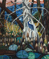 DAVID BATES (American, b. 1952) The Blue Heron, 1985 Oil on canvas 72 x 60 inches (182.9 x 152.4