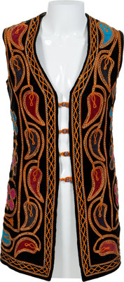 Jimi Hendrix Owned and Worn Long Multi-Colored Paisley and Flower Design Velvet Vest with Signed Letter of Authenticity...