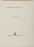 Books:Art & Architecture, Max Beerbohm. Observations. London: William Heinemann, 1925. First edition. Quarto. Fully illustrated. Publisher's c...