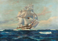 Illustration:Magazine, EDGAR LESLIE BLOOMSTER (American, 1895-1968). Clipper Ship inFull Sail, The Saturday Evening Post story illustration, c...