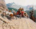 Illustration:Advertising, TOM LOVELL (American, 1909-1997). Dr. Jackson Blazes aTranscontinental Trail, Great Moments in Early AmericanMotoring,...