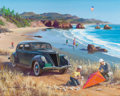Mainstream Illustration, HARRY ANDERSON (American, 1906-1996). Flying Kites on the Beach,Great Moments in Early American Motoring. Gouache and t...