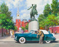Mainstream Illustration, HARRY ANDERSON (American, 1906-1996). Paul Revere, 1941 LincolnContinental, Great Moments in Early American Motoring. G...