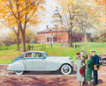Mainstream Illustration, HARRY ANDERSON (American, 1906-1996). A Gathering in Front ofTown Hall, Great Moments in Early American Motoring. Gouac...